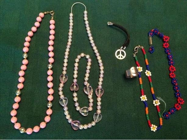 Dress-up Necklaces, bracelets and ring.