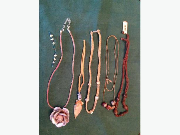 Leather Rose, Arrow Head & Bead Necklaces