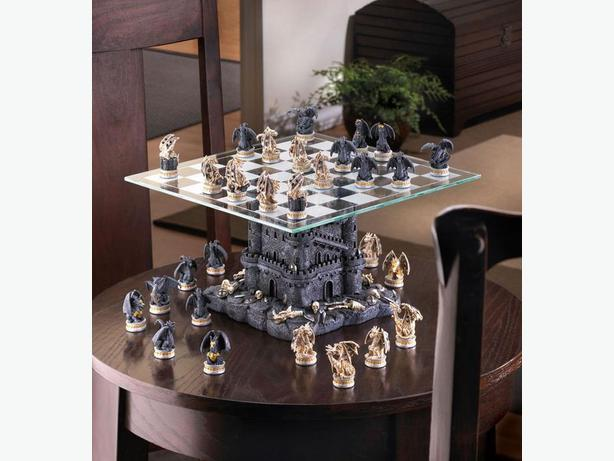Black Tower Dragon Chess Set With Glass Board Brand New