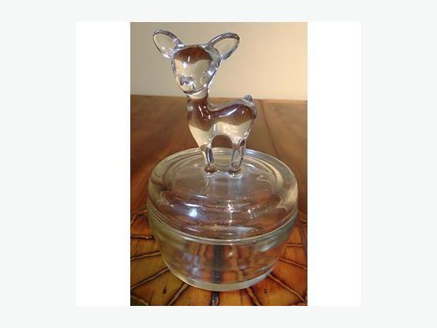 Vintage Jeannette Glass Co. powder jar with fawn on lid