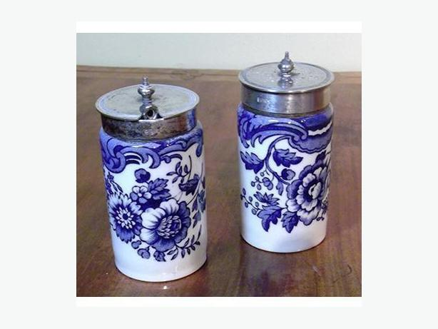 Victorian Blue Transfer Ware Condiment Set (1880)