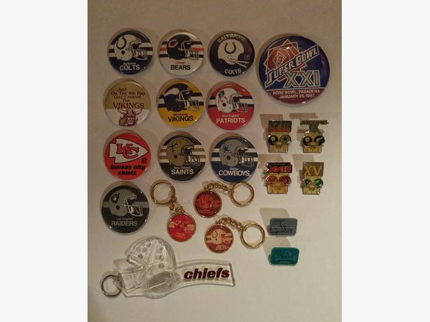 21 piece collection of NFL badges, keychains and SuperBowl pins
