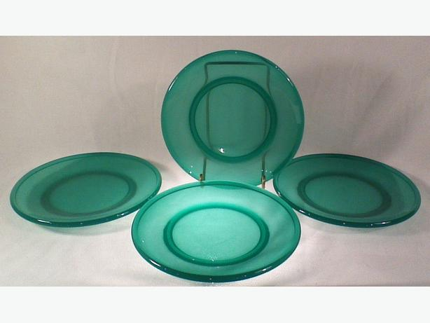 Green glass side plates