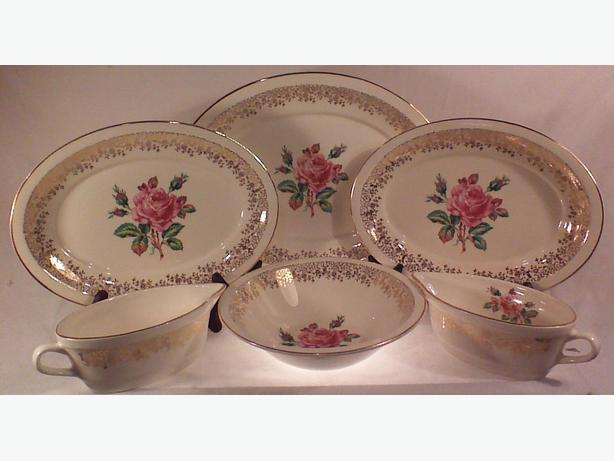 Georgian Cornish Rose serving set