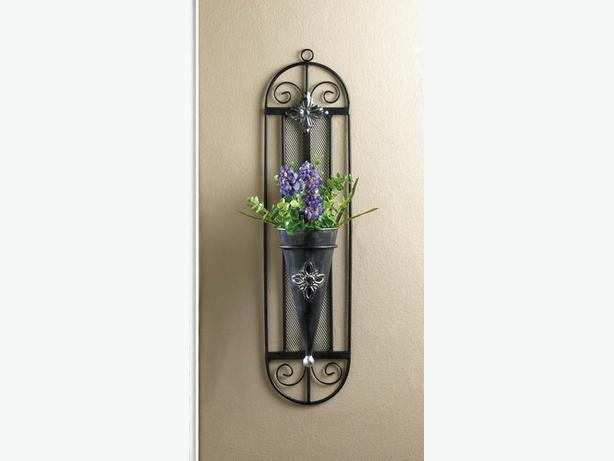 Metal Cone Vase Wall Sconce With Decorative Framework Set of 2 New