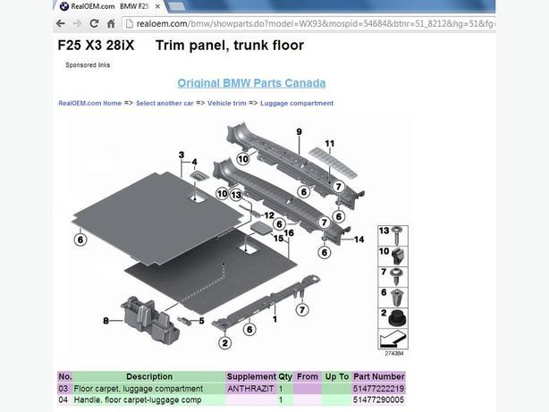 Oem Bmw X3 F25 Trunk Luggage Cover Floor Hooks Mirror Trim Nepean  Gatineau