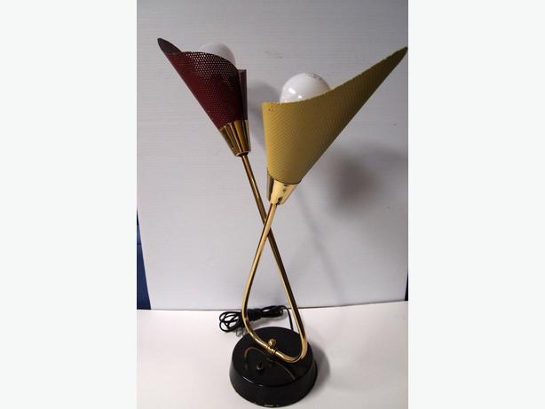 Pierced shade table lamp in the style of Mathieu Mategot 1950