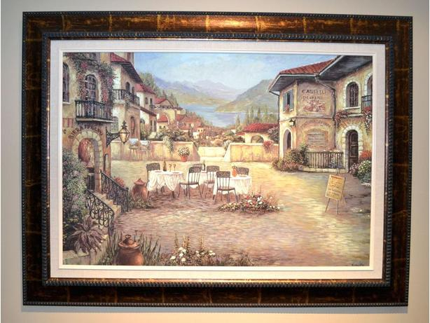 print outdoor cafe scene on canvass transfer framed