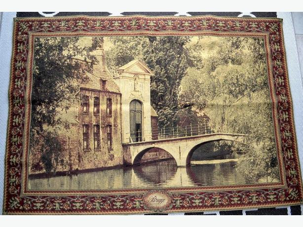 really nice wall tapestry with house/bridge