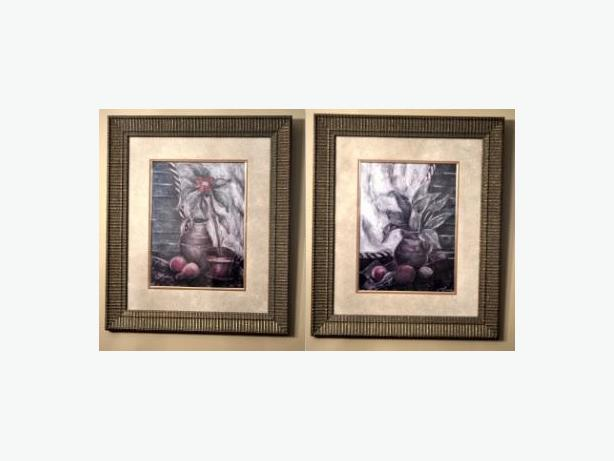 """set of 2 really nice print with flower/water jug framed 23"""" x 26"""