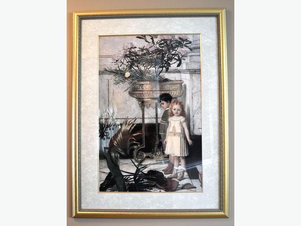 """really nice print of 2 children framed 29"""" x 39"""""""