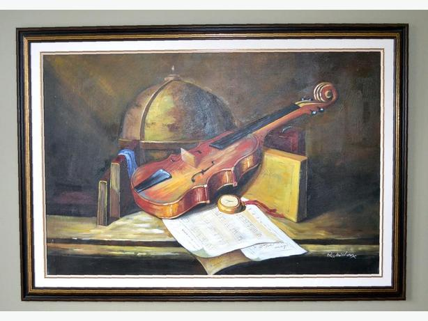 "really nice oil painting of violin 41"" x 29"""