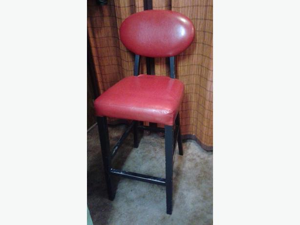 VERY BEAUTIFUL,AND COMFORTABLE TOO,RED STOOL WITH BACK REST 29 INCHES TALL