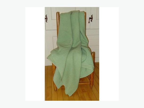 Vintage pale green wool blanket