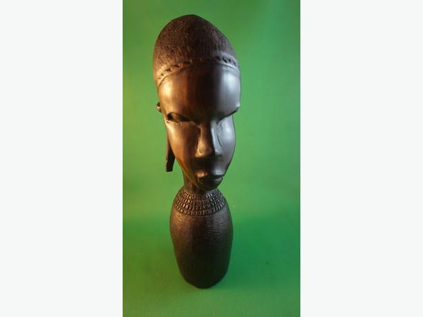 4u2c CARVED EBONY WOOD FEMALE HEAD STATUE WITH LONG EARS