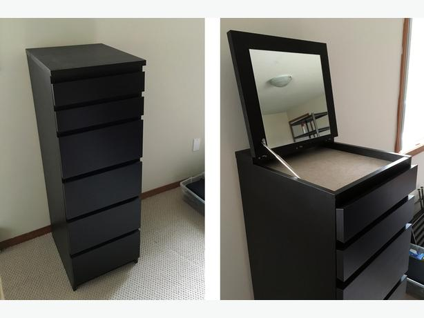 IKEA Malm 6 Drawer Chest, Black Brown, Mirror Glass (Article No
