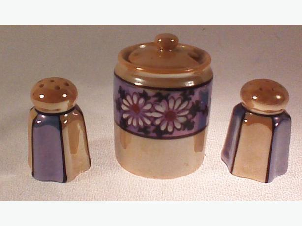 Mustard pot with salt & pepper shakers