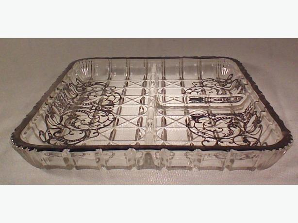 Silver overlay divided glass serving dish