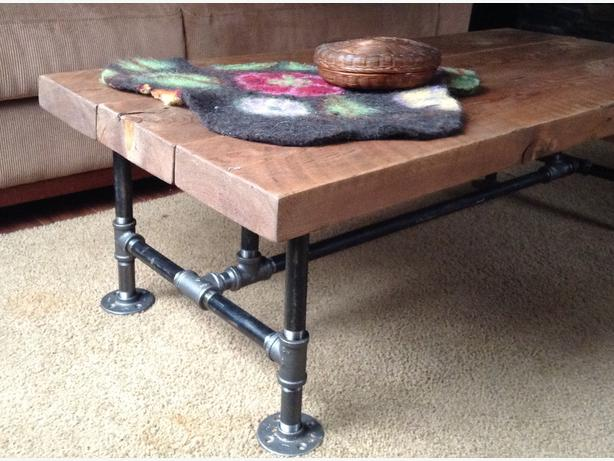 Charming Black Iron Pipe Coffee Table