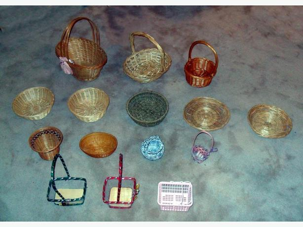 17 (15 shown) Mostly Wicker Baskets of Various Shapes and Sizes
