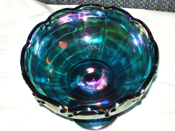 ANTIQUE CARNIVAL GLASS PEDESTAL CANDY DISH