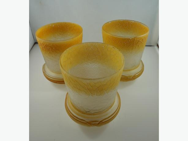 4U2C SET OF 3 VNTAGE GOLD AND FROSTED CRACKLE GLASS SHADES