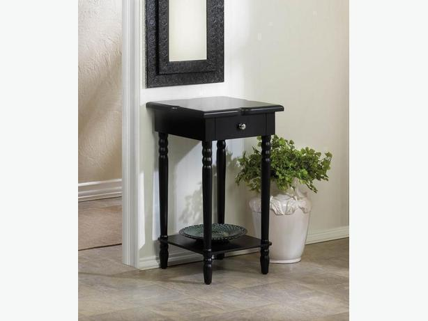Black Wood Accent End Table Designed Top Display Shelf & Drawer New