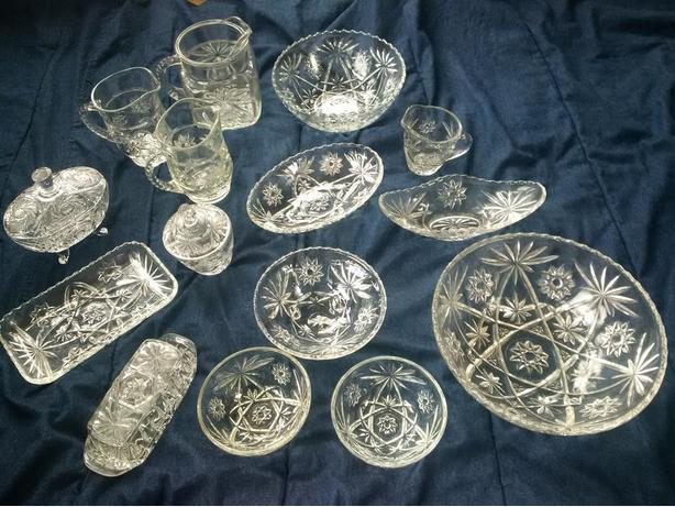 14 piece Early American Prescut Clear Crystal pieces by Anchor Hocking