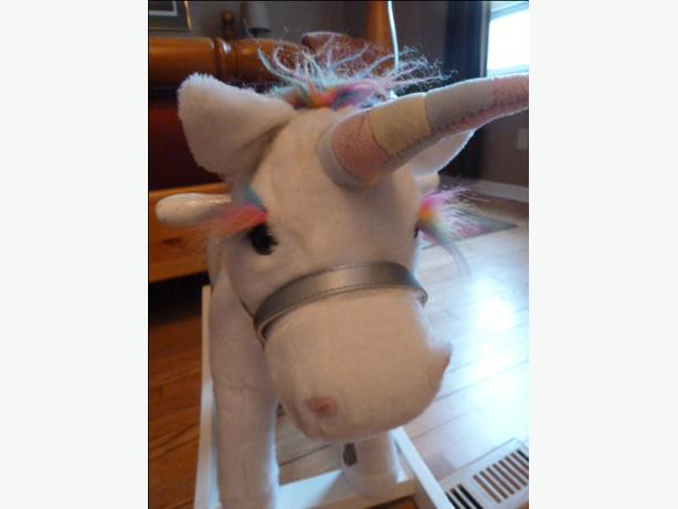 Wooden rocking plush Unicorn