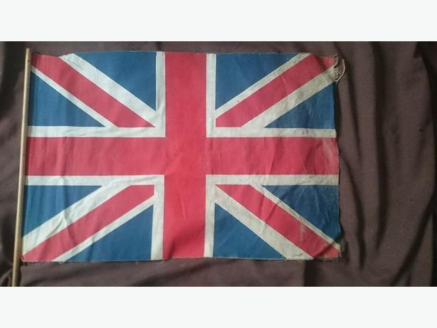 Antique British Union Jack hand-held flag