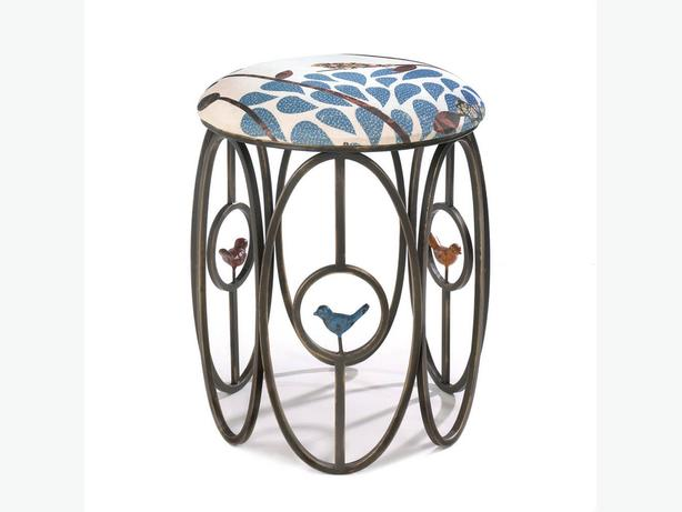 Decorative Metal Stool with Fabric Top & Bird Ornamentation Brand New