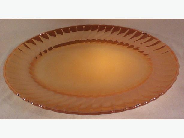 Anchor Hocking platter peach lustre swirl