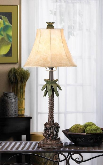 Monkey See Speak Hear Evil Palm Tree Table Lamp Set