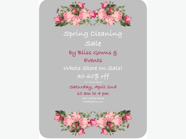 Spring Cleaning Sale by Bliss Gowns & Events South Nanaimo ...