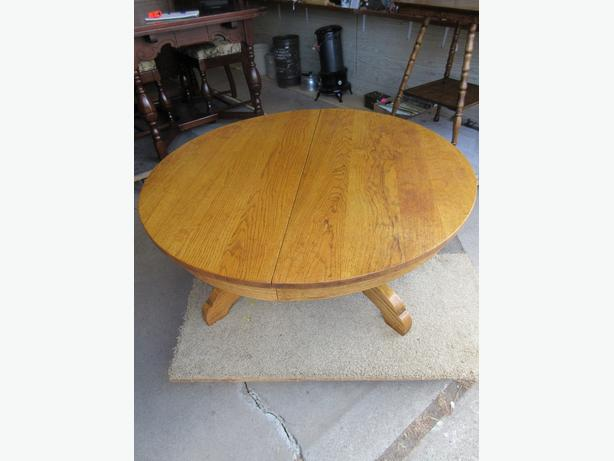 GRAMPS ROUND OAK TABLE CUT DOWN TO A COFFEE TABLE