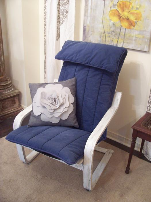Comfy white and blue poang chair for sale i deliver for White comfy chair