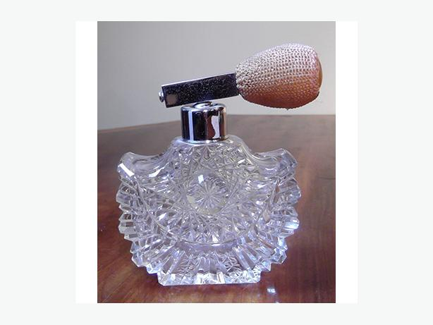 Antique cut crystal perfume bottle with atomizer