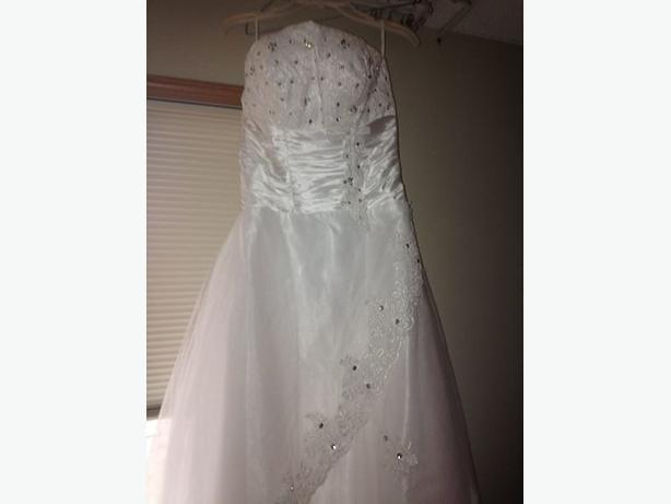 Brand New Strapless A-line Long White Lace Wedding Dress & Veil