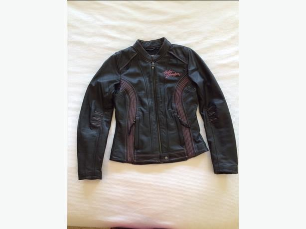 Harley Davidson Black with Pink Detail Ladies Leather Jacket