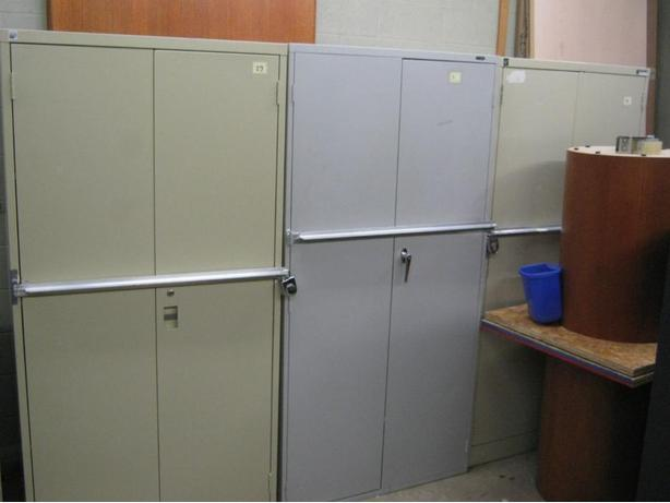 Storage Cabinets with Lock Bars in front all Metal