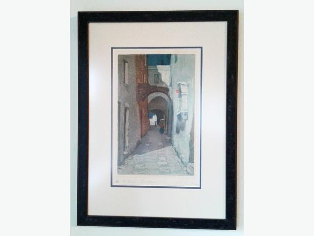 "Original Antique Aquatint REDUCED! ""San Remo"" by Annie L Simpson"