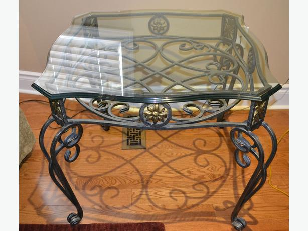 Set of 3 pcs wrought iron coffee side tables with glass for Wrought iron and glass coffee table sets