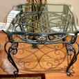 set of 3 pcs wrought iron coffee/side tables with glass top