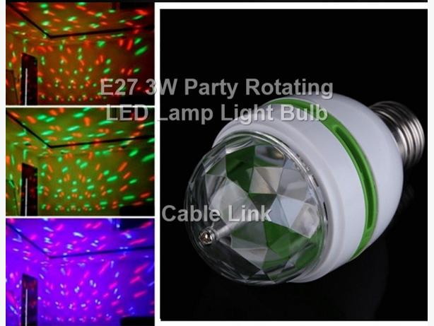 E27 3W Colorful Auto Rotate RGB LED Bulb Stage Light Party Lamp