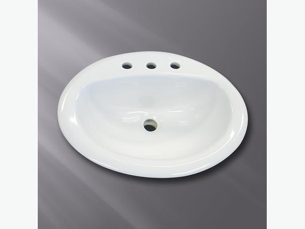 WHITE DROP IN BATHROOM SINK