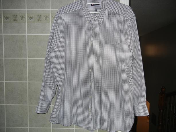 Mens xxl chaps checkered button down casual dress shirt for Chaps mens dress shirts
