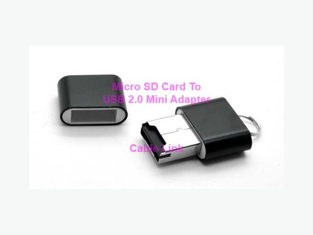 Micro SD Card USB 2.0 Mini Size Adapter Reader With Key Chain Hook