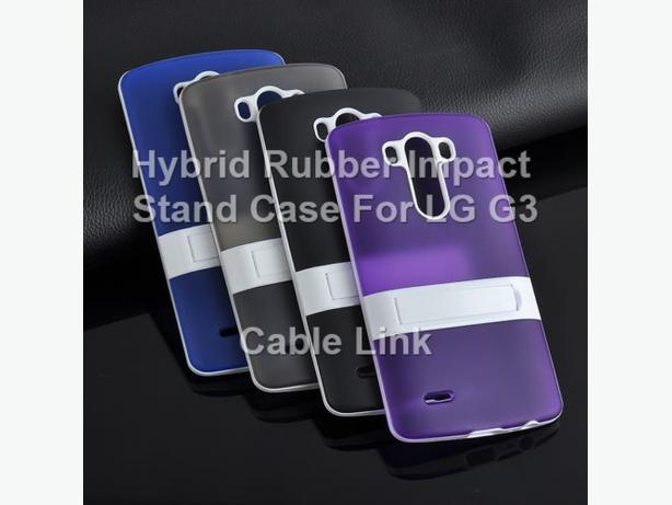 New Hybrid Rubber Impact Shockproof Stand Case For LG G3