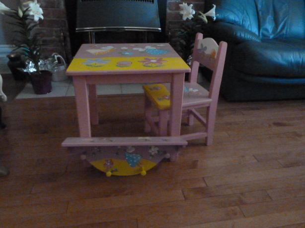 Little girl's Handpainted wooden table, chair and shelf set
