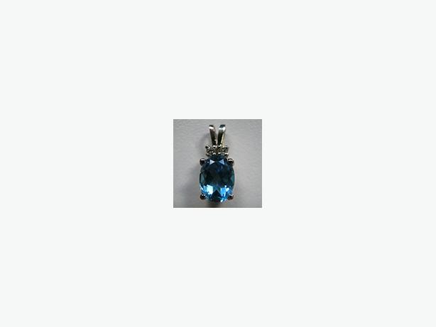 Great Deal on Brand New Blue Topaz and Diamond Pendant